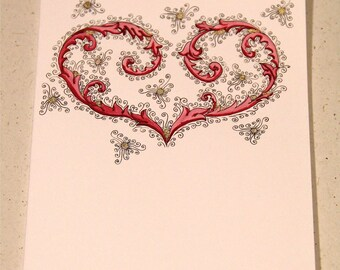 Red Florentine-Style Hand-drawn Heart Greeting Card