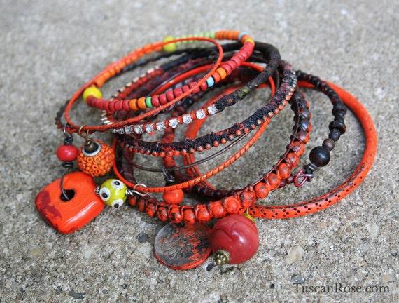 ON SALE - Bangle Stack set 22dg - set of 10 Bangles - urban gypsy bracelets - luminous neon orange