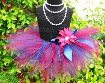 "Girls Tutu Skirt, Birthday Tutu, Football Tutu, Sports Team Tutu, burgundy navy blue, Team Color Tutu, 8"" Pixie Tutu, Baby Tutu, Tutu Set"