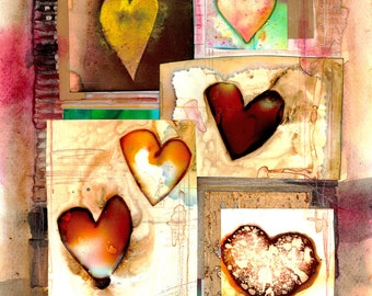 "Heart Painting, Abstract, Mixed Media Collage Art, Love, Original Contemporary ""Heart Encounters 4"" by Kathy Morton Stanion EBSQ"