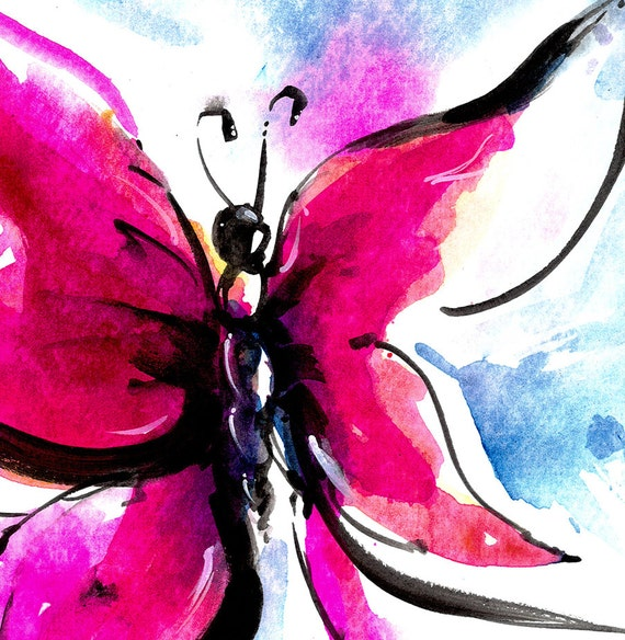 Butterfly Song 13... Original abstract watercolor art ooak painting by Kathy Morton Stanion  EBSQ