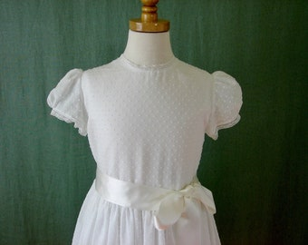 Embroidered Heirlooms First Communion Dress, Flower Girl Dress in Vintage Inspired Dotted Swiss - Audrey