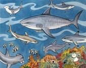"Sharks Great Barrier Reef Bunny Art Print 8"" x10"""