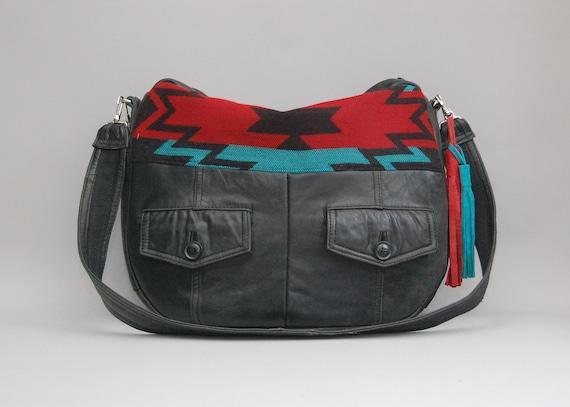 SALE black leather Tundra navajo bag / southwestern / large slouchy bag / boho style / Tundra Bag