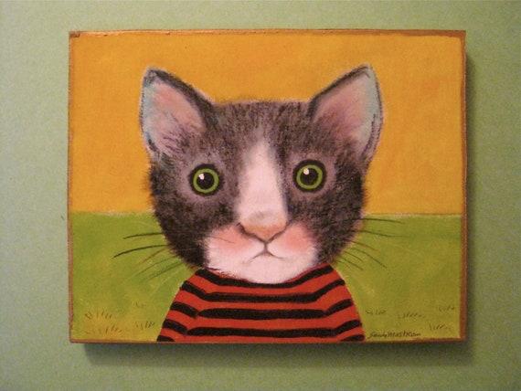 cat art-  illustration- cut out wood- wall art-  black white cat- tuxedo- green grass- yellow sky- curious cat- meow