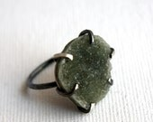 Dark Natural Gray Drusy Ring in Handmade Prong Setting