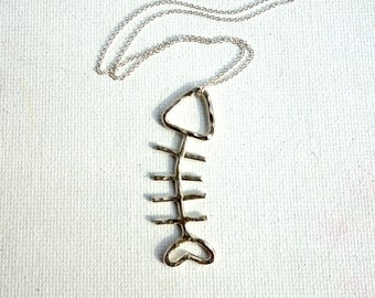 Fish Sticks- Sterling Silver Fish Necklace