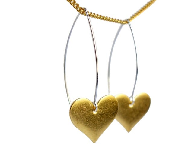 Sterling Silver and Brass Heart Dangles