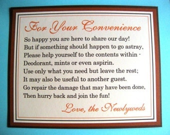 CLEARANCE 8x10 For Your Convenience Wedding Reception Bathroom Basket Sign Package Shimmery Brown Burnt Orange - Men's & Women's Restrooms
