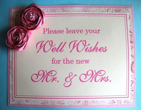 8x10 Please Leave Your Well Wishes for the new Mr. & Mrs. Guest Book Sign in Pink and Cream with Handmade Fabric Flowers