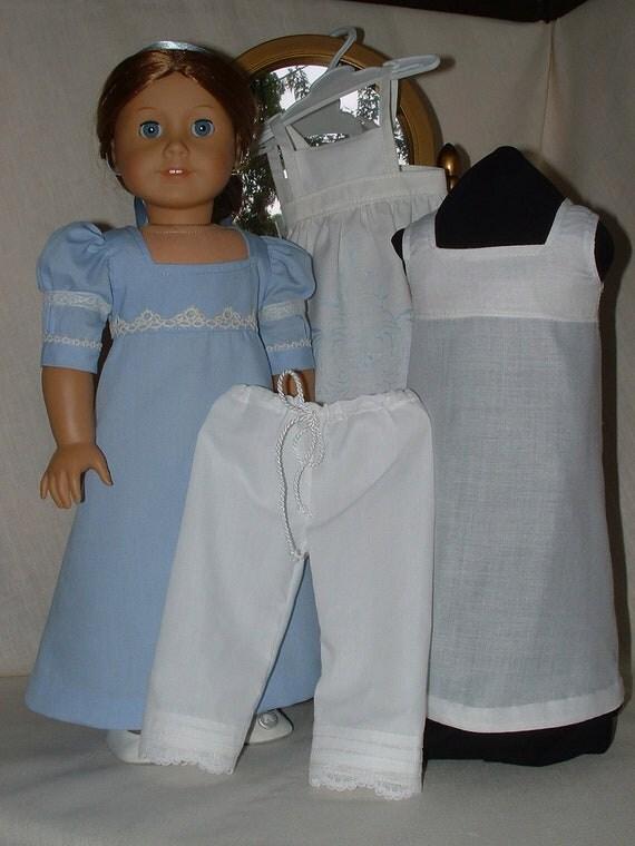 Regency Dress, Vintage Linen Apron, Pantalettes, Underdress Set  American Girl dolls
