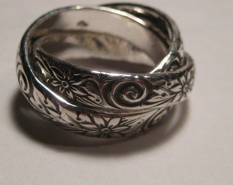 Swirl Flower  .... 3 Band Rolling  Ring  ......Heavy Rolling Band ring ... Sterling Silver ..made to order in your size.........