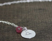 October Birthday - Libra Zodiac Necklace - Sterling Silver, Birthstone