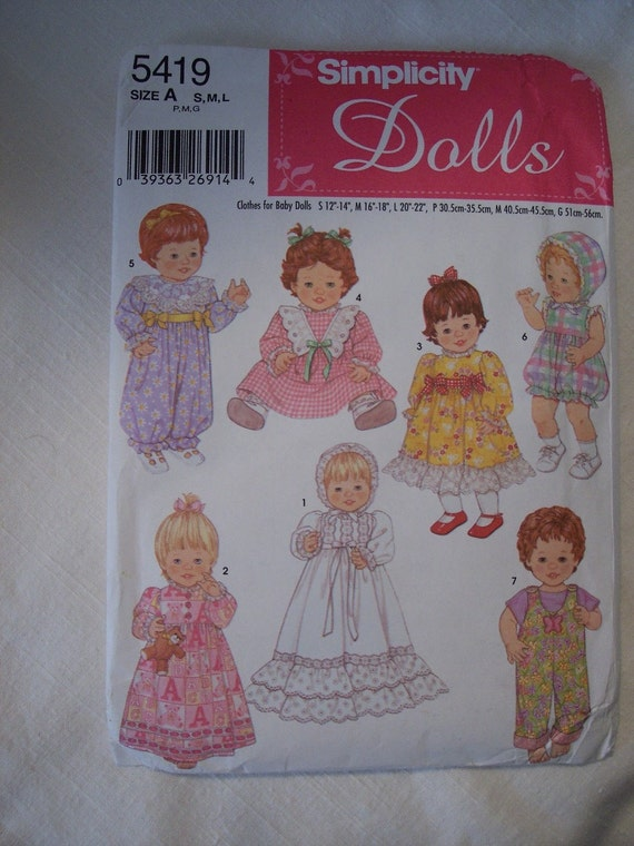 Bitty Baby Doll Clothes Pattern Simplicity 5419