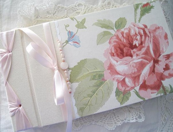 Wedding Guest Book,Photo Album,Bridal Shower Guest Book,English Rose,Vintage inspired  6 x 10