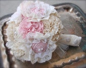 Fabric Flower Bouquet - Fabric Bouquet in Pink and Ivory Cotton with Lace - Weddings Bridal Accessory Bouquet