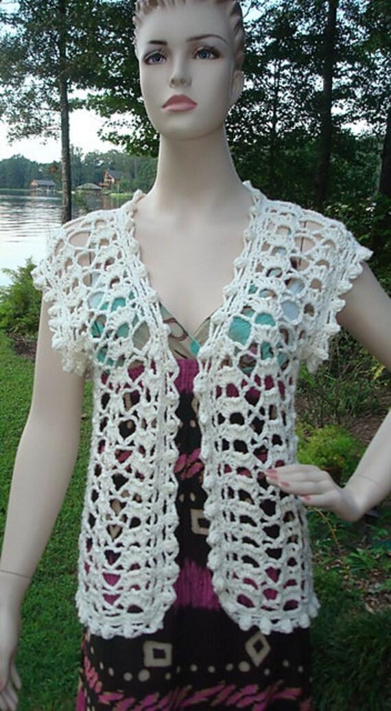 Crochet Vest Pattern : Items similar to Ladys Lace Vest - PDF Crochet Pattern on Etsy