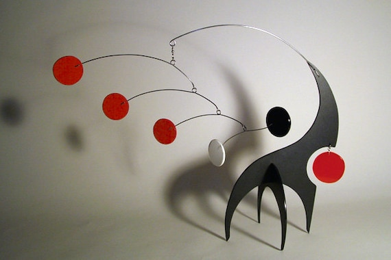 Modern Mobile Tabletop Art Sculpture Stabile Lil Swinger Sculpture Kinetic Calder Styled Home Decor S