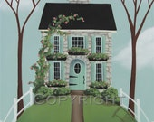 Folk Art Print Brambleberry Cottage