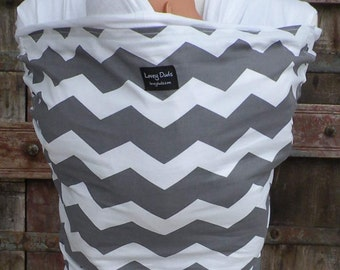ORGANIC COTTON Baby Wrap-Sling Carrier- Hands-Free Carrier-Gray Chevron-Our Wraps Are One Size Fits All-DvD Included