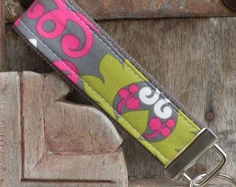Key Chain-Key Fob-Wristlet- Hannah on Gray 1-READY TO SHIP