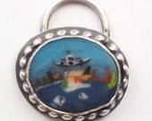 Handmade Lampwork Alcatraz Murrine Sterling Silver Pendant