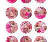 Buy 1 Get 1 Free DuSTy pInK VicToRian AnTiQue RoSeS Vases LaMPs LaCe sWiRLs DigitaL ViNTaGe EpHeMeRa CoLLaGE 2 Inch Circles ShEEt