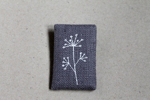 Hogweed Brooch in dusty light blue linen