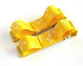 No-Slip Yellow Star Bar Bow Hair Clippie Set
