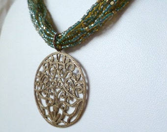 Bronze and Glass Necklace
