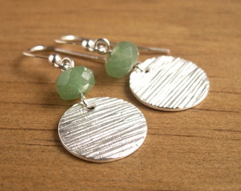 Silver Green Earrings Green Aventurine Natural Stone Faceted Beads Small Woodgrain Texture OOAK Recycled Silver Rustic Modern Earrings