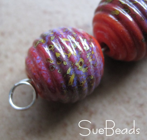 Lampwork Beads - SueBeads - Ribbed Round Beads - Coral Autumn Wonder Beads - Handmade Lampwork Beads - SRA M67