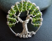 Tree necklace-Beaded Peridot green-Spring- August Birthstone-Silver