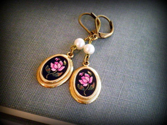 Cottage Chic Repurposed Vintage Avon Pink Rose Cameo Dangle Earrings