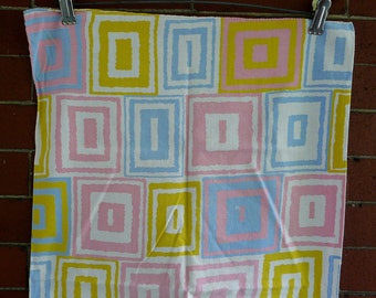 2 Vintage 1960s Op art funky cotton kitchen hand towels