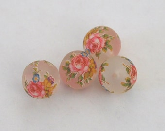 4 white matte mix floral Japanese tensha acrylic beads