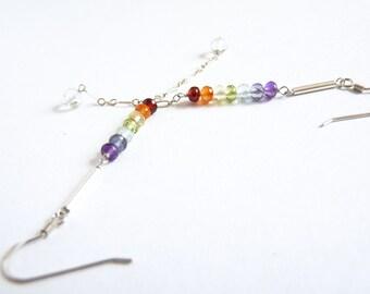 Chakra, Rainbow, Sterling Silver Earrings, Multi Gemstones, Handmade Jewelry