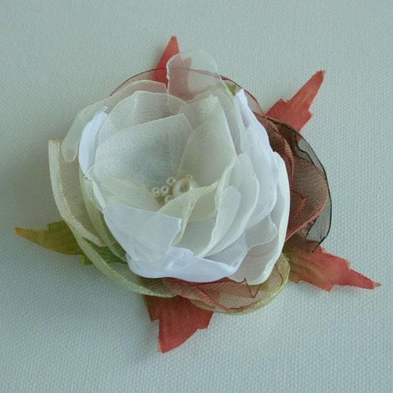 Ivory flower composition-- Bride FLOWER ---  head piece -hair pin