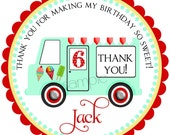 Ice Cream Birthday Party  Stickers, BOYS colors, Vintage Ice cream Truck, BIrthday Party , Children, set of 12 stickers