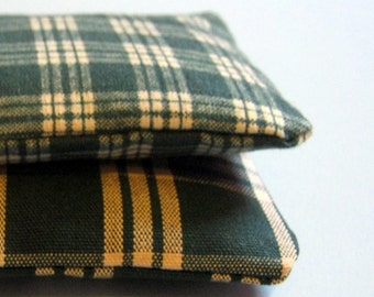 Lavender Sachets Green Plaid Set of Two