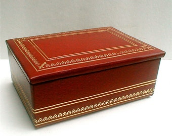 Deluxe Craft  Box -Red Leatherette Trinket Box for Gents
