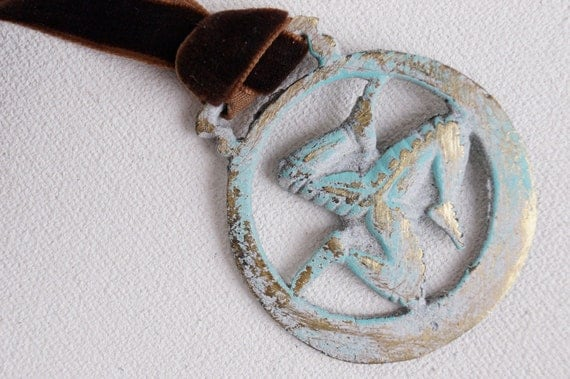 Running In Circles- Painted Vintage English Saddle Charm