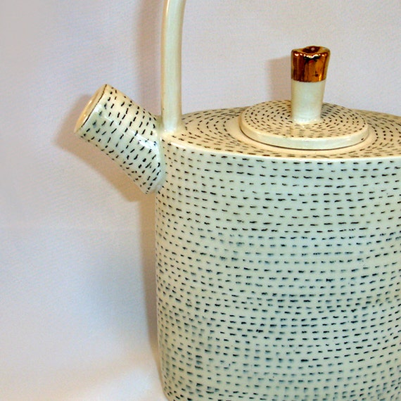 handbuilt stoneware teapot with 22k gold luster