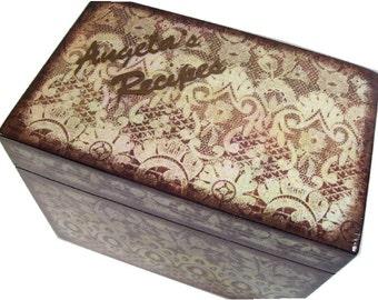 Recipe Box, Wood Recipe Box, Decoupaged Recipe Box, Rustic Lace Box, Wedding Recipe Box, Bridal Shower Box, Holds 4x6 Cards, MADE TO ORDER