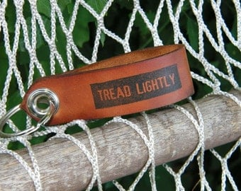 Leather Key Fob Printed Tread Lightly