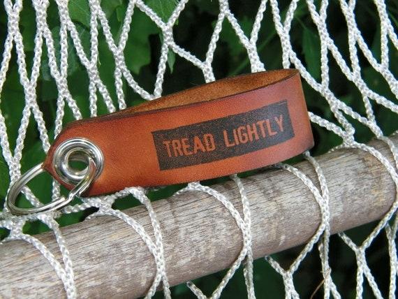 Leather Key Fob Printed Tread Lightly
