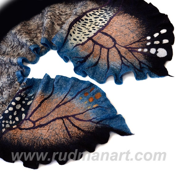 Halloween gift 20% discount Felted Scarf Wrap Shawl made from Wool Silk Teal Black White Coffee Butterfly
