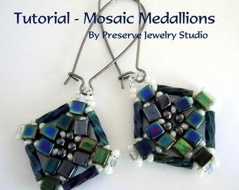 Beaded Earring Tutorial - Mosaic Medallions