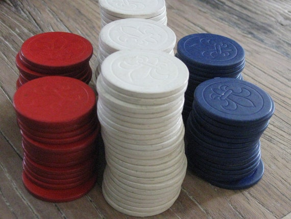 Vintage Red, White and Blue Poker Chips