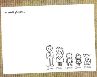 25 Personalized Family Notecards (featuring cute drawings of your family members)